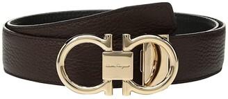 Salvatore Ferragamo Adjustable/Reversible Rose Gold Double Gancini (Hickory/Nero) Men's Belts