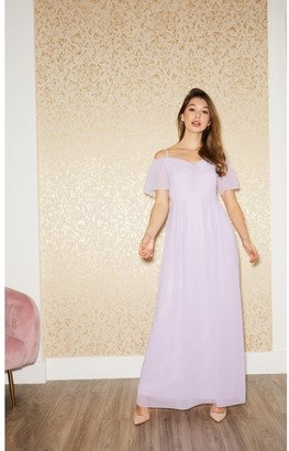 Little Mistress Vita Lilac Cold-Shoulder Maxi Dress
