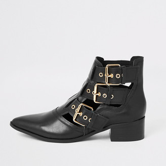 River Island Black leather cut out buckle ankle boots