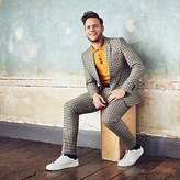 Mens Olly Murs ecru check skinny cropped trousers