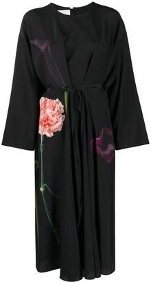Valentino Tie-Waist Floral Print Dress
