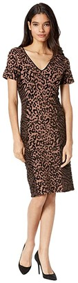 Milly Animal Print Fitted Dress (Natural Combo) Women's Clothing