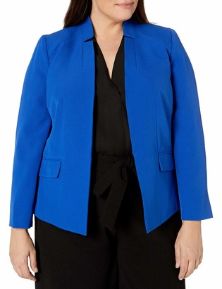 Kasper Women's Plus Size Stretch Crepe Stand Collar Jacket with Pockets