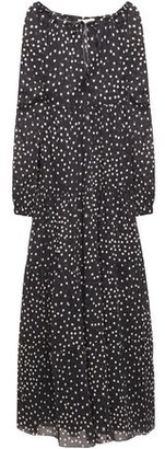 Stella McCartney Gathered Polka-dot Cotton And Silk-blend Voile Maxi Dress