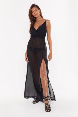 Nasty Gal Womens Plain Chiffon Plunge Wrap Extreme Wrap Beach Dress - Black - 8