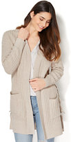New York & Co. Lace-Up Ribbed-Knit Cardigan