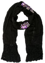 Anna Sui Black Crochet-Trimmed Scarf
