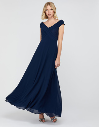 Under Armour Bethany Bardot Maxi Dress with Lace Inserts Blue