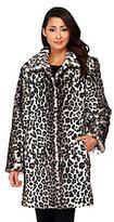 Dennis Basso Leopard Print Faux Fox Fur Fully Lined Coat