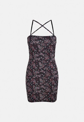 Missguided Black Floral Print Strappy Mini Dress