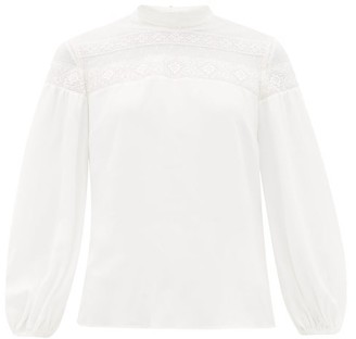 RED Valentino Lace-trimmed Crepe Blouse - Womens - White