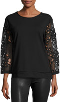 Alberto Makali Lace-Sleeve Pullover Top, Black