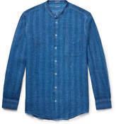 Massimo Alba Slim-Fit Grandad-Collar Watercolour-Dyed Striped Linen Shirt