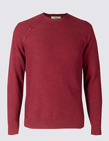 M&s Collection Pure Cotton Textured Crew Neck Jumpers