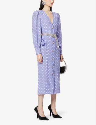 Alessandra Rich Polka-dot V-neck silk dress