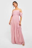 Thumbnail for your product : boohoo Pleated Bardot Bridesmaid Maxi Dress