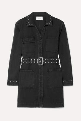 Current/Elliott Debbie Belted Studded Denim Mini Dress - Black