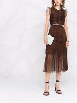 Thumbnail for your product : Self-Portrait Lace-Embroidered Tiered Dress
