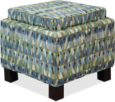 Kylee Blue Dot Fabric Accent Storage Ottoman with Pillows, Quick Ship