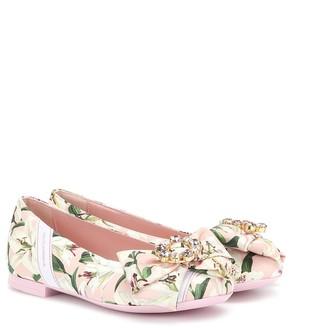 Dolce & Gabbana Kids Embellished floral slippers