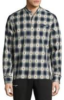 Ovadia & Sons Crosby Raw-Edge Plaid Diamond Cotton Shirt, Blue