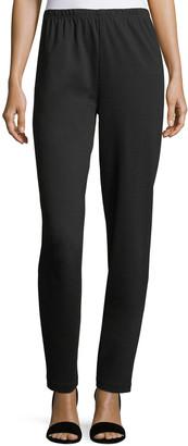 Caroline Rose Plus Size Ponte Slim Pants, Black