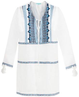 Melissa Odabash Millie Embroidered Lace-up Cotton Mini Dress - Navy