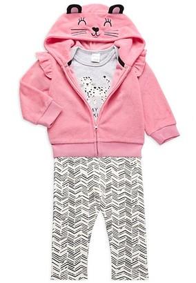 Pl Baby Baby Girl's 3-Piece Cat Hoodie, Bodysuit Leggings Set