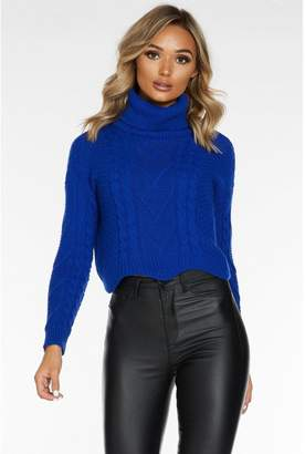 Quiz Royal Blue Cable Knit Roll Neck Crop Jumper