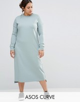 Asos Casual Column Midi Dress With Long Sleeve