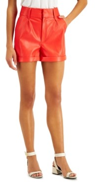 Bar III Faux-Leather Shorts, Created for Macy's