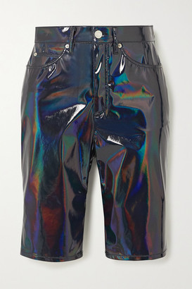 we11done Iridescent Faux Patent-leather Shorts - Navy