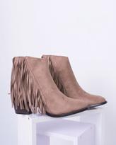 Missy Empire Yazz Mocha Suede Tassel Ankle Boot