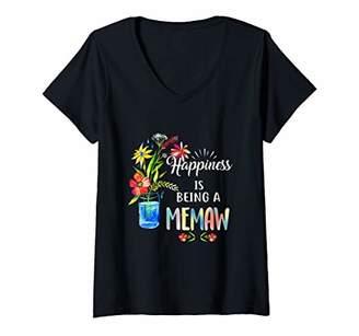 Womens Womens Happiness Is Being A Memaw Life - Grandma Birthday V-Neck T-Shirt