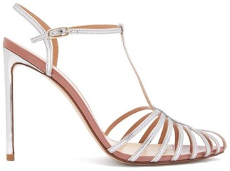 Francesco Russo Caged Leather Stiletto Sandals - Silver