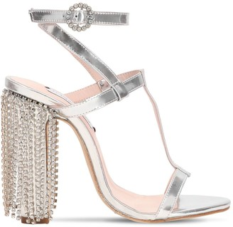 Leandra Medine 100mm Swarovski Metallic Leather Sandals