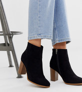 Asos DESIGN Wide Fit Rye heeled ankle boots in black