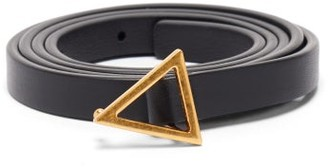Bottega Veneta Triangle-buckle Slim Leather Belt - Black Gold