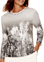 Alfred Dunner Alpine Lodge 3/4-Sleeve Scenic Print Sweater