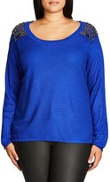 City Chic Plus Size Women's Embellished Shoulder Drop Tail Sweater