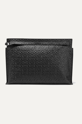 Loewe T Embossed Leather Pouch - Black