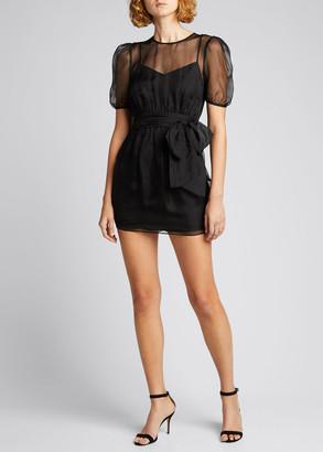 Cinq à Sept Lexie Sheer Organza Puff-Sleeve Cocktail Dress