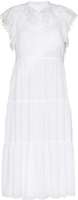 See by Chloe Cap-Sleeve Tiered Cotton Midi Dress