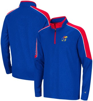 Colosseum Youth Royal Kansas Jayhawks Bunsen Colorblock Quarter-Zip Pullover Jacket