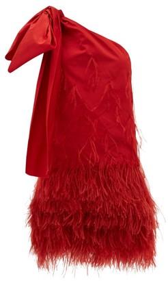 No.21 No. 21 - Bow-applique One-shoulder Feathered Taffeta Dress - Red