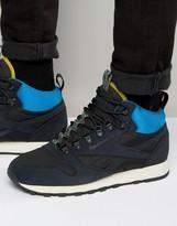 Reebok Classic Leather Mid Winter Sneakers In Black AQ9665