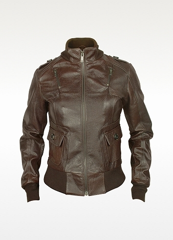 Forzieri Signature - Women's Dark Brown Lizard Stamped Genuine Leather Jacket