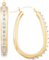 Signature Diamonds Pear-Shape Hoop Earrings in 14k Gold over Resin Core Diamond and Crystallized Diamond Dust