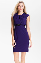 Calvin Klein Twist Neck Belted Sheath Dress