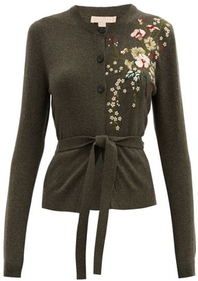 Brock Collection Ramo Floral-embroidered Wool-blend Cardigan - Green